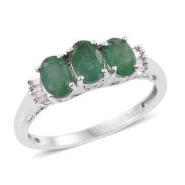 Kagem Zambian Emerald (Ovl), Diamond Ring in Platinum Overlay Sterling Silver 1.500 Ct.