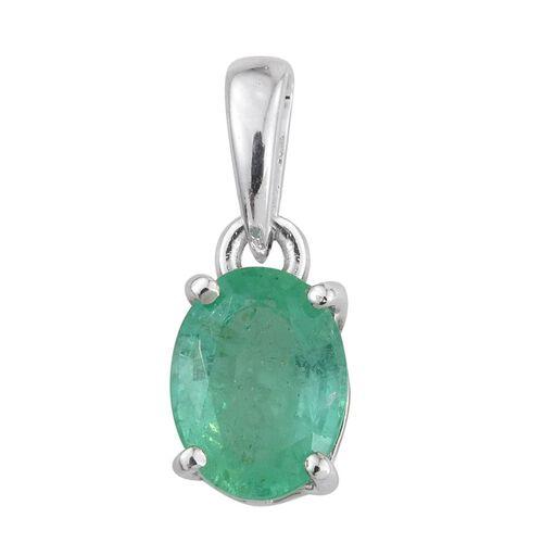 14K White Gold Boyaca Colombian Emerald (Ovl) Solitaire Pendant 1.000 Ct.
