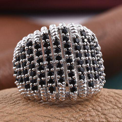 Boi Ploi Black Spinel (Rnd) Cluster Ring in Platinum Overlay Sterling Silver 2.750 Ct.