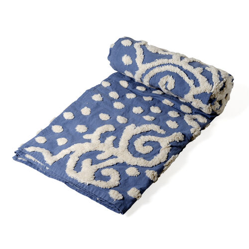 100% Cotton Abstract Pattern Blue and White Colour Tufted Blanket (Size 200x150 Cm)