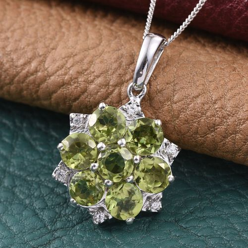 AA Hebei Peridot (Rnd), Natural Cambodian Zircon Floral Pendant With Chain in Platinum Overlay Sterling Silver 4.350 Ct.