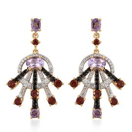 GP Amethyst (Ovl), Mozambique Garnet, Boi Ploi Black Spinel and Multi Gemstone Earrings (with Push Back) in 14K Gold Overlay Sterling Silver 5.500 Ct. Silver wt 8.01 Gms. Number of Gemstone 122