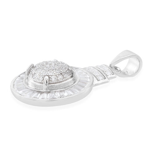 ELANZA AAA Simulated White Diamond (Rnd) Pendant in Rhodium Plated Sterling Silver