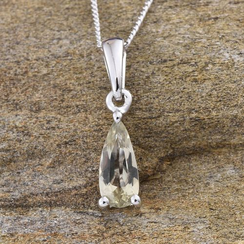 14K W Gold Turkizite (Pear) Solitaire Pendant With Chain 0.900 Ct.