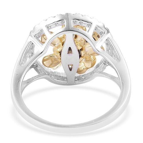 ELANZA AAA Simulated Diamond Spinning Flower Ring in Platinum and Yellow Gold Overlay Sterling Silver
