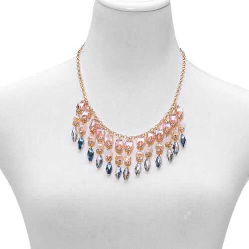 Multi Colour Seed Beaded and White Austrian Crystal Necklace (Size 20) in Gold Tone
