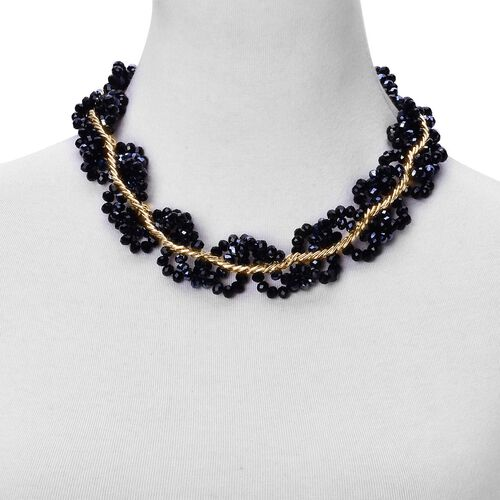 Simulated Black Spinel Necklace (Size 18 with 3 inch Extender) in Gold Tone