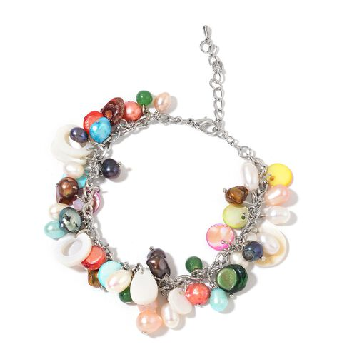 Fresh Water Multi Colour Pearl, Multi Color Shell and Simulated Emerald Cluster Charms Bracelet (Size 7.5 with 2 inch Extender) in Silver Tone