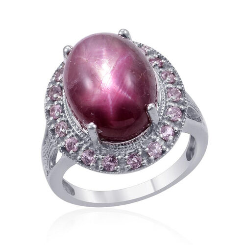 Star Ruby (Ovl 17.50 Ct), Pink Sapphire Ring in Platinum Overlay Sterling Silver 18.250 Ct.