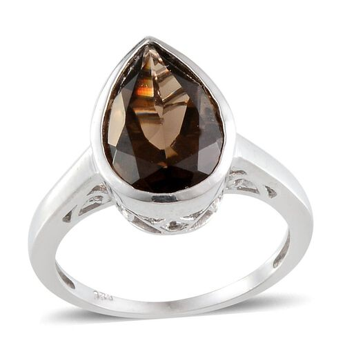 Brazillian Smoky Quartz (Pear) Solitaire Ring in Platinum Overlay Sterling Silver 4.250 Ct.