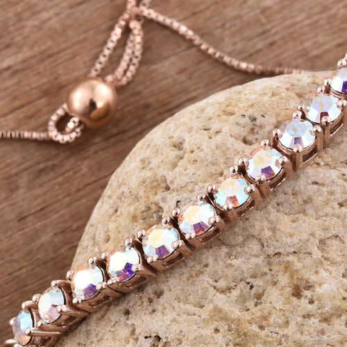 One Time Deal - J Francis Crystal from Swarovski - Aurore Boreale Crystal (Rnd) Bolo Bracelet (Size 6.5 to 8.5) in Rose Gold Overlay Sterling Silver