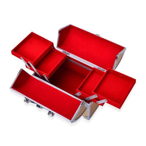 Golden Colour Glistening Exterior 3 Layer Jewellery Box with 4 Small Extendable Trays (Size 24x18x15 Cm)