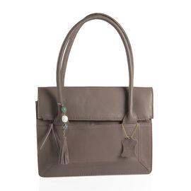 100% Genuine Leather RFID Blocker Dark Grey Colour Tote Bag with Gemstone Adorned Tassel Charm (Size 32X24 Cm)