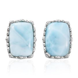 Larimar (Cush) Stud Earrings in Platinum Overlay Sterling Silver 16.000 Ct.