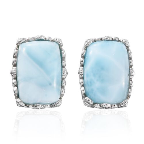 Extremely Rare Larimar (Cush) Platinum Overlay Sterling Silver Earring 16.000  Ct.
