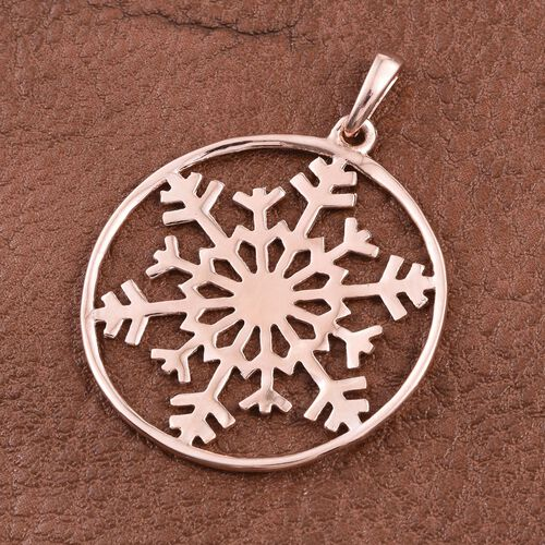 Rose Gold Overlay Sterling Silver Snowflake Pendant, Silver wt 3.51 Gms.