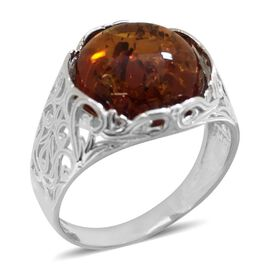 Baltic Amber (Rnd 12mm) Ring in Rhodium Plated Sterling Silver 4.000 Ct.