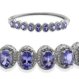 Tanzanite (Ovl), Diamond Bangle in Platinum Overlay Sterling Silver (Size 7.5) 4.800 Ct.