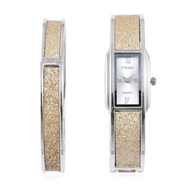 STRADA Japanese Movement Golden Stardust Watch and Bangle (Size 7.5) Set