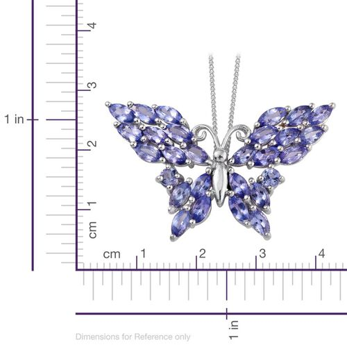 Tanzanite (Mrq) Butterfly Pendant With Chain in Platinum Overlay Sterling Silver 3.750 Ct.