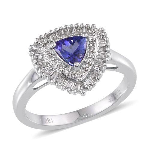 ILIANA 18K W Gold AAA Tanzanite (Trl 0.75 Ct), Diamond Ring 1.250 Ct.
