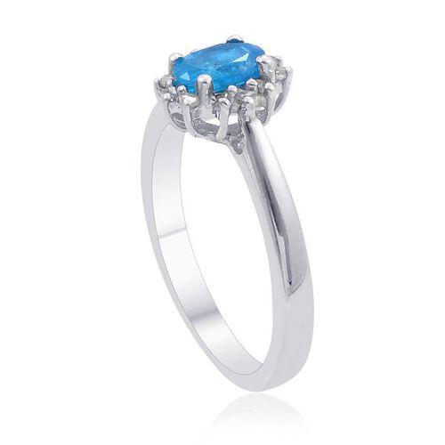 Malgache Neon Apatite (Ovl), Diamond Ring in Platinum Overlay Sterling Silver 0.500 Ct.