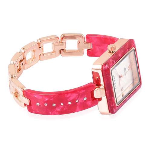 STRADA Japanese Movement White Austrian Crystal Studded Dial Watch in Rose Gold Tone with Red Colour Strap