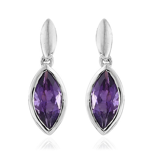 Amethyst 2 Ct Sterling Silver Earrings (with Push Back) in Platinum Overlay