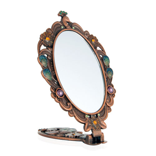 (Option 2) Multi Colour Enameled Floral and Peacock Pattern Foldable Compact Mirror in Rose Gold Tone with Simulated Pearl and Simulated Stone