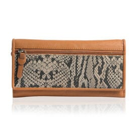 Genuine Leather RFID Blocker Tan and Beige Colour Snake Pattern Wallet with Multiple Card Slots (Size 19X10.5X3.8 Cm)