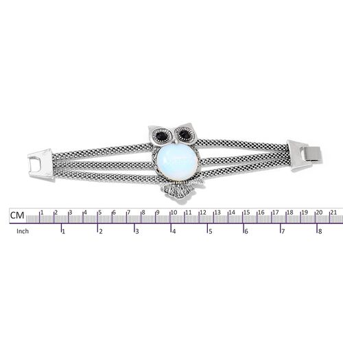 Opalite and Simulated Black Spinel Owl Bracelet (Size 8) in Black Tone 47.500 Ct.