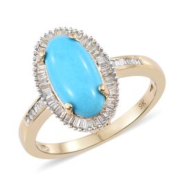 9K Yellow Gold AAA Arizona Sleeping Beauty Turquoise (Ovl 2.40 Ct), Diamond Ring 2.650 Ct.