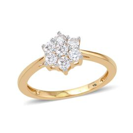 9K Yellow Gold 0.50 Ct Diamond (Rnd) 7 Stone Floral Ring SGL Certified (I3/G-H)