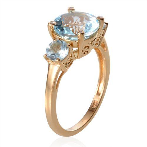Sky Blue Topaz (Rnd 5.75 Ct), Diamond 3 Stone Ring in 14K Gold Overlay Sterling Silver 5.770 Ct.