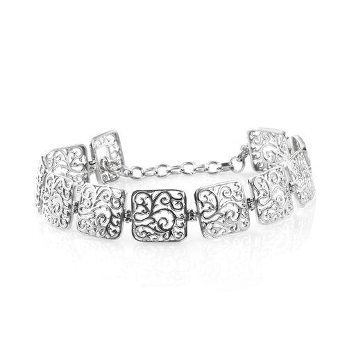 Designer Inspired - Platinum Overlay Sterling Silver Filigree Embellished Square Linked Bracelet (Size 7.5), Silver wt. 10.00 Gms.