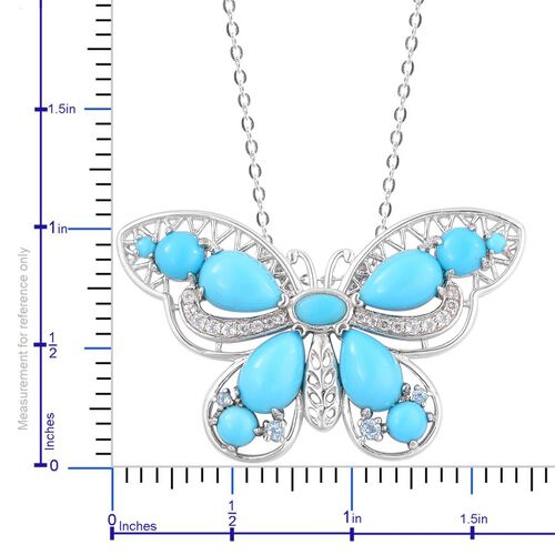 Arizona Sleeping Beauty Turquoise (Pear), White Zircon Butterfly Pendant With Chain in Rhodium Plated and Platinum Overlay Sterling Silver 5.160 Ct.