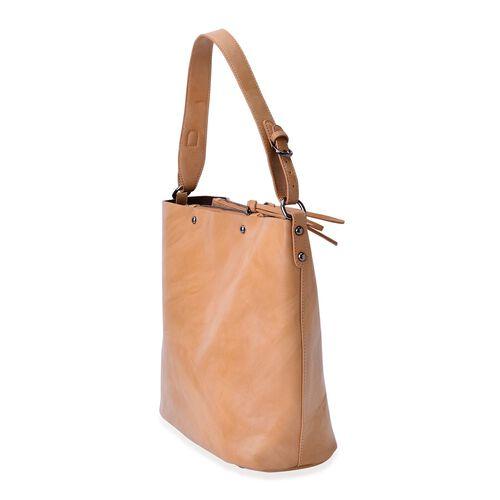 Sienna Light Tan Bucket Bag with Adjustable Shoulder Strap (Size 30x30x14 Cm)