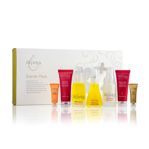 Jojoba Starter Pack  includes, Absolute Serum 3ml, Co Q10 Serum 3ml, Intense Overnight Cream 20ml, Bead Facial Cleanser 20ml, Jojoba 30ml, Makeup Remover 30ml and Hydrating Day Cream 30ml