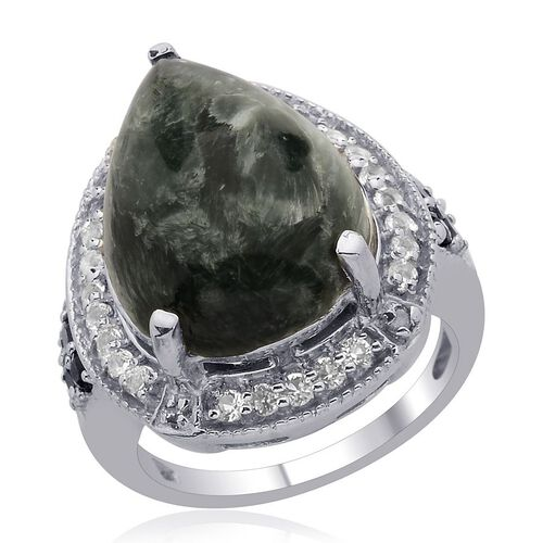 Siberian Seraphinite (Pear 8.00 Ct), Kanchanaburi Blue Sapphire, White Topaz and Diamond Ring in Platinum Overlay Sterling Silver 8.750 Ct. Silver wt 6.35 Gms.