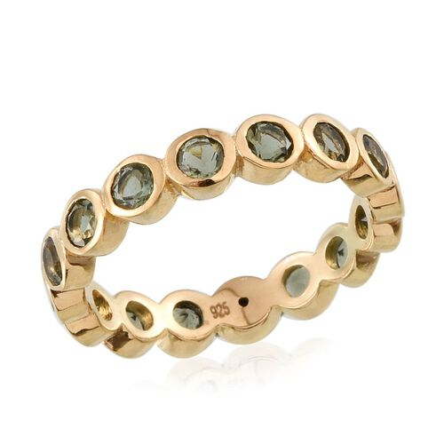 Bohemian Moldavite (Rnd) Full Eternity Ring in 14K Gold Overlay Sterling Silver 1.250 Ct.