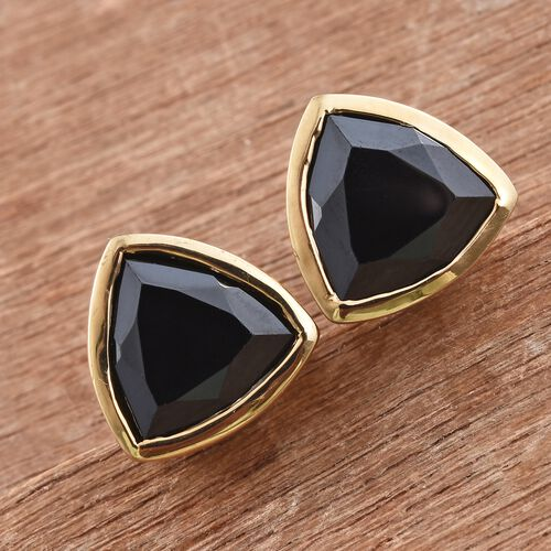 Boi Ploi Black Spinel (Trl) 8.75 Carat Silver Stud Earrings in 14K Gold Overlay (with Push Back)