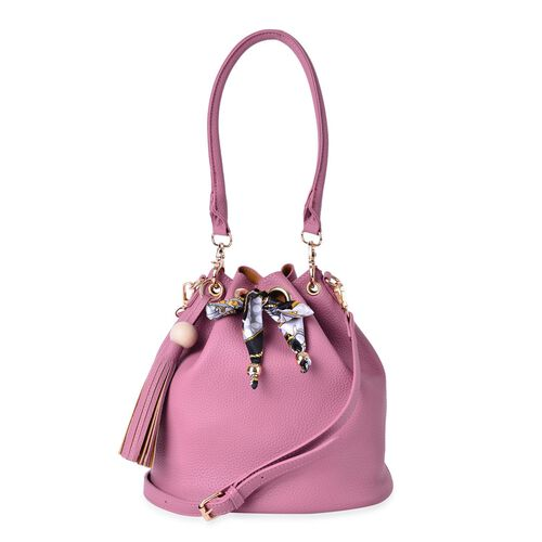 Dark Pink Colour Shoulder Bag with Tassels and Multi Colour Scarf (Size 26x26x17 Cm)