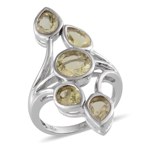 Brazilian Green Gold Quartz (Rnd 2.00 Ct) Ring in Platinum Overlay Sterling Silver 4.750 Ct.