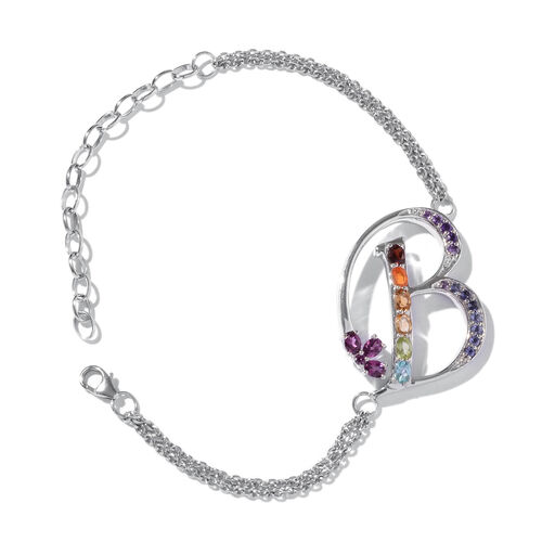 Paraiba Apatite (Ovl), Rhodolite Garnet, Citrine, Tanzanite, Jalisco Fire Opal, Amethyst and Multi Gemstone Initial B Bracelet (Size 9 with Extender) in Platinum Overlay Sterling Silver 5.646 Ct.