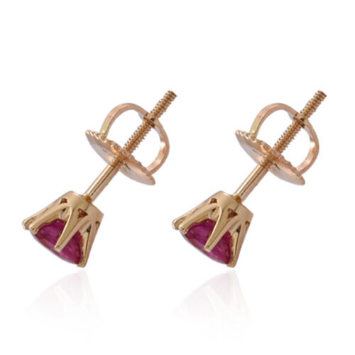 ILIANA 18K Y Gold AAAA Burmese Ruby (Rnd) Stud Earrings (with Screw Back) 0.750 Ct.