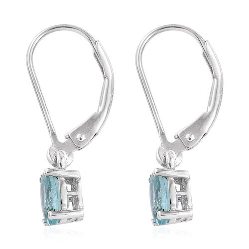 Paraiba Apatite (Ovl) Lever Back Earrings in Platinum Overlay Sterling Silver 1.000 Ct.