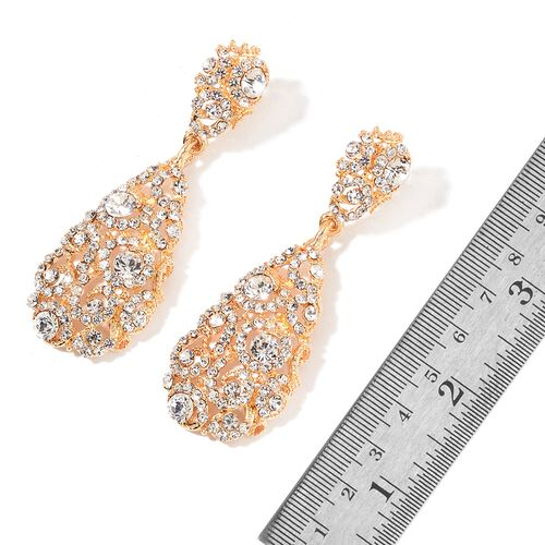 AAA White Austrian Crystal Drop Pendant with Chain (Size 20 with 3 inch Extender) and Earrings (with Push Back) in Yellow Gold Tone