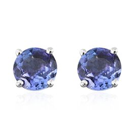 Tanzanite Stud Earrings (with Push Back) in Platinum Plated Silver 1 Carat