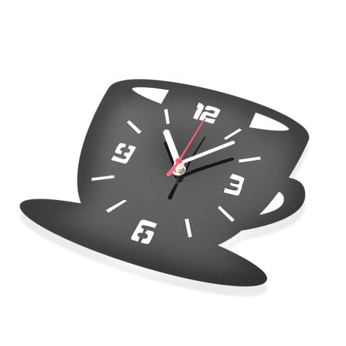 Black and  Coffee Mug with Spoon Design Wall Clock