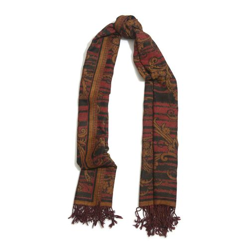 100% Wool Light Chocolate and Red Colour Floral and Leaves Pattern Black Colour Scarf (Size 175x65 Cm)